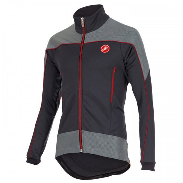 CASTELLI Mortirolo Reflex Cycling Jacket, charcoal grey-red-reflex P9169Z9099