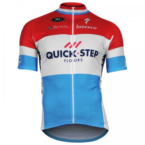 2018 QUICK-STEP FLOORS Short Sleeve Luxembourgian Champion A6581B8383